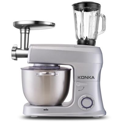 康佳(KONKA)KM-905厨师机家用和面机多功能全自动揉面机搅拌机打蛋器料理机搅拌机奶油机电子式旋钮式 闪亮银五合一