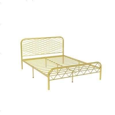 北歐ins網紅風斯黛拉金色雙人鐵床極簡設計師1.8米床鐵藝床成人 1800mm*2000mm_金色(排骨架