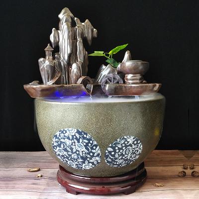 景德镇陶瓷鱼缸养鱼盆客厅假山自循环生态风水 桌面流水鱼缸