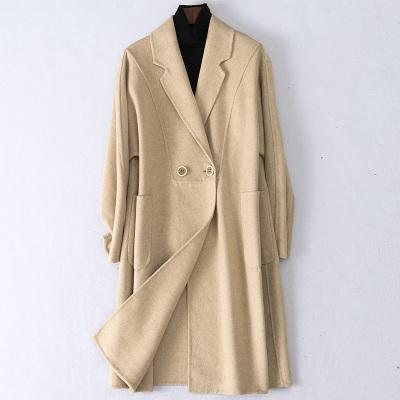 2020春季新款雙面毛呢大衣女士流行時尚羊毛呢子寬松外套