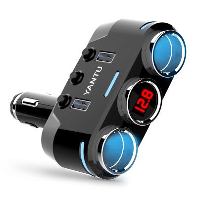 沿途(yantu)点烟器一拖三多功能转接多用插头12-24V汽车充一拖二usb车载充电器 高通快充版黑色带电压监测B39