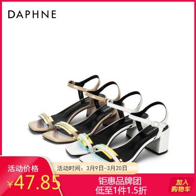Daphne/達芙妮專柜正品女鞋 夏時尚方頭馬蹄跟簡約一字帶涼鞋