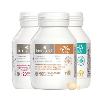 佰澳朗德(Bio Island)進口嬰幼兒 寶寶液體鈣+鋅+DHA海藻油3件裝