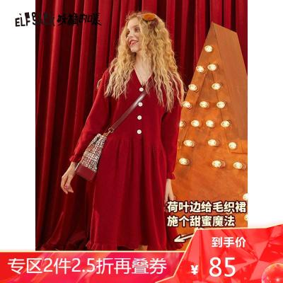 妖精的口袋红色针织毛衣连衣裙2020夏冬季新款女复古a字拜年裙子_16