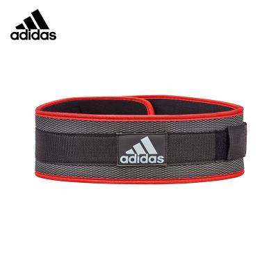 Adidas阿迪达斯运动护腰带健身腰带深蹲举重硬拉推举腰托腰椎间盘腰肌劳损尼龙护腰黑红色健身腰带