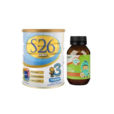 Wyeth惠氏3段婴幼儿奶粉S26金装三段900g1-3岁+蓓澳儿Brauer儿童高纯度鳕鱼肝油软胶囊90粒12个月+
