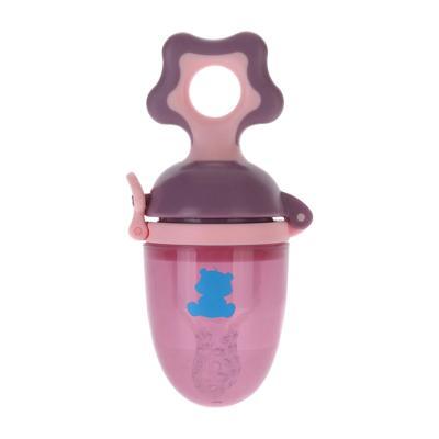 小白熊(XIAOBAIXIONG)咬咬袋 婴儿安抚牙胶训练器11*4.5*5 PP, 硅胶材质, 粉紫色 09290