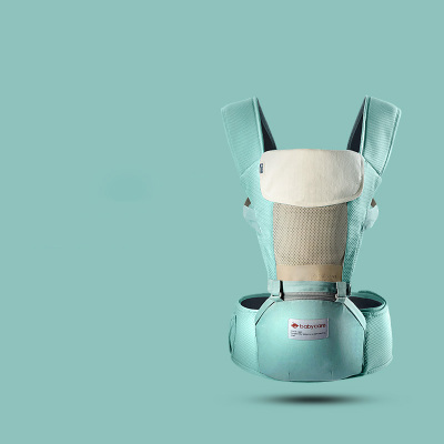 babycare 透气多功能婴儿背带前抱式宝宝腰凳 巴基斯坦棉纱材质 薄荷蓝 9821超透款