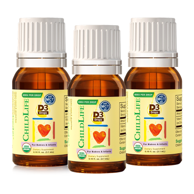 3瓶装|童年时光有机维生素D3滴剂 宝宝vd 宝宝儿童维生素D滴剂 美国进口 15天以上