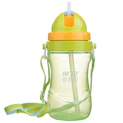 爱得利水壶pp吸管杯儿童背带杯400ml宝宝塑料带吸管喝水杯F86 绿色