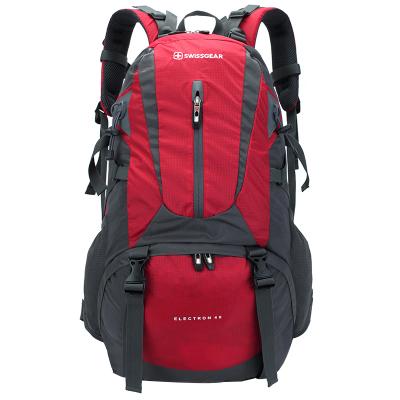 瑞士军刀SWISSGEAR 登山包40L 时尚潮流休闲运动包旅行背包男女户外登山双肩包配防雨罩 JP-3340II红/灰