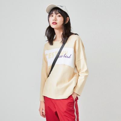 太平鸟主题字母针织衫女2020春季新款字母纹样长袖圆领卫衣女
