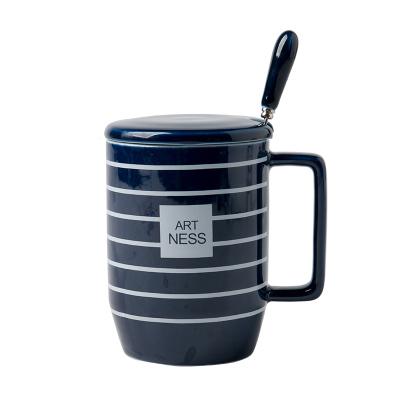 亿嘉IJARL 陶瓷带盖带勺子杯子简约咖啡杯大容量创意个性情侣水杯马克杯线生活蓝色条纹A