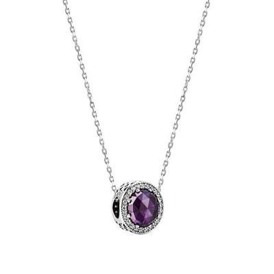 情人节礼物 潘多拉PANDORA 女士项链 925银 紫色猫眼45cm