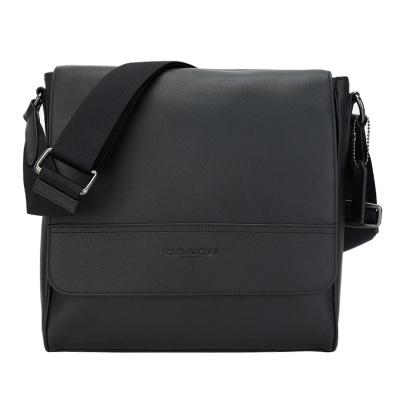 COACH 蔻驰 奢侈品 欧美时尚商务简约黑色皮革单肩男士斜挎包