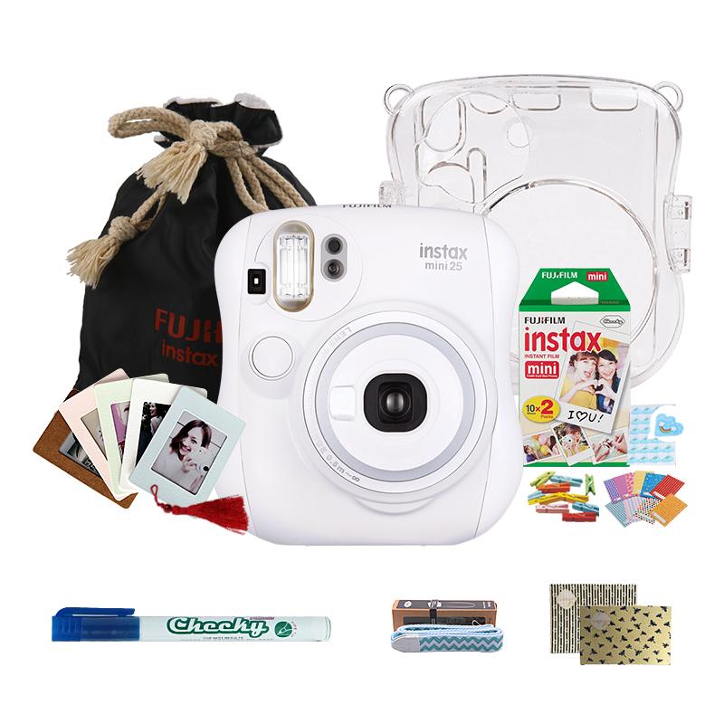 富士(FUJIFILM)INSTAX 一次成像相机立拍立得 mini25相机 白色 实用套餐 (含20张胶片)