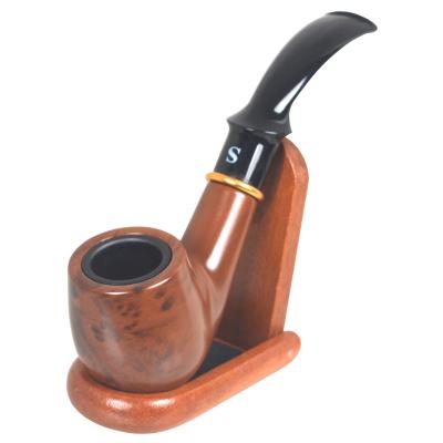 三达SANDA胶木弯式烟斗 金属斗杯耐烧循环清洗型过滤芯烟嘴礼品