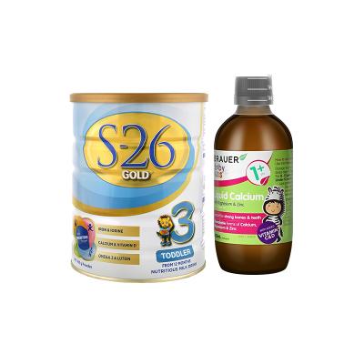 Wyeth惠氏3段婴幼儿奶粉S26金装三段900g 1-3岁 +蓓澳儿(Brauer)儿童液体钙镁锌口服液200ml1岁