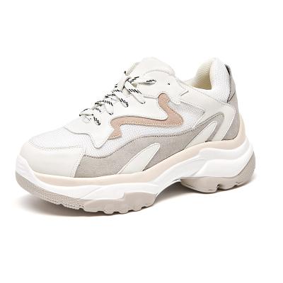 马克华菲女士老爹鞋运动鞋厚底女鞋增高鞋女休闲鞋网面透气拼色百搭女鞋